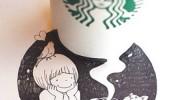 清新、可愛的星巴克咖啡素描