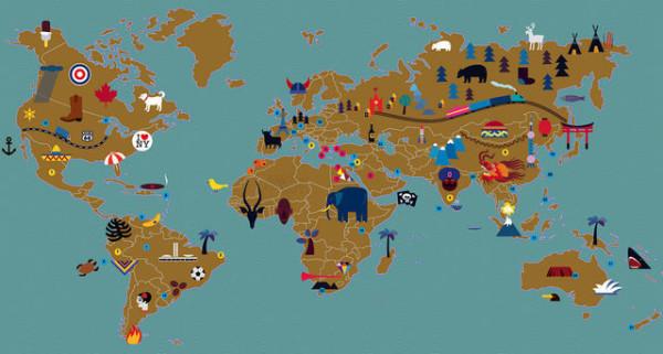 文字世界地图  素描世界地图