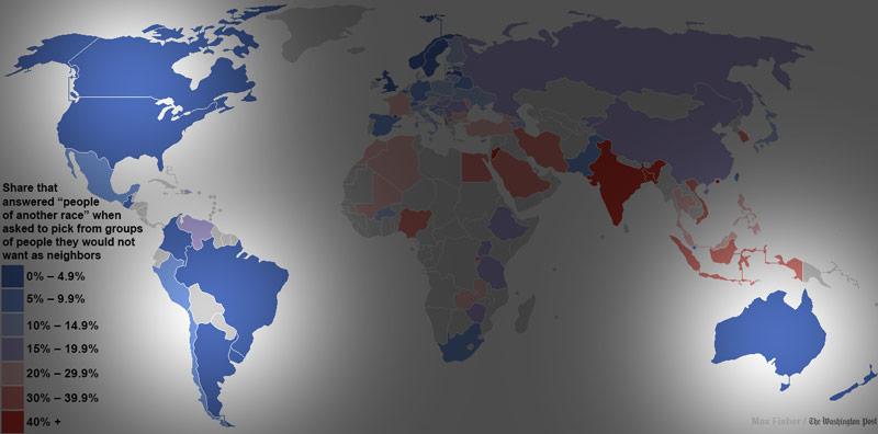 世界各國對其他民族容忍度地圖2