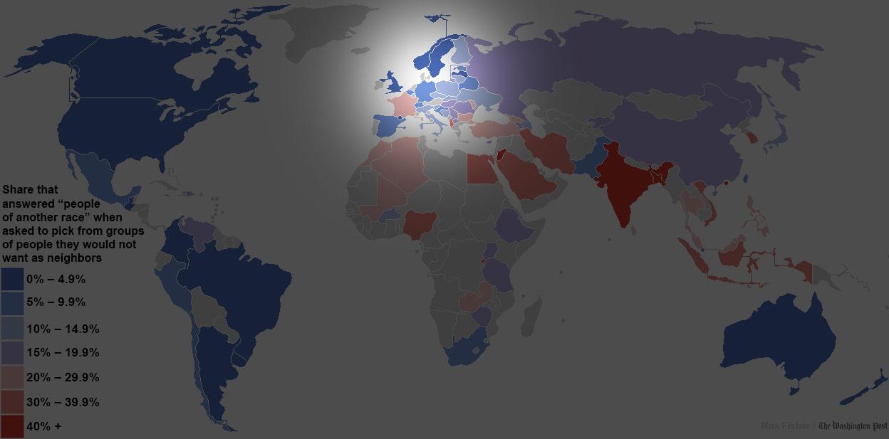 世界各國對其他民族容忍度地圖4