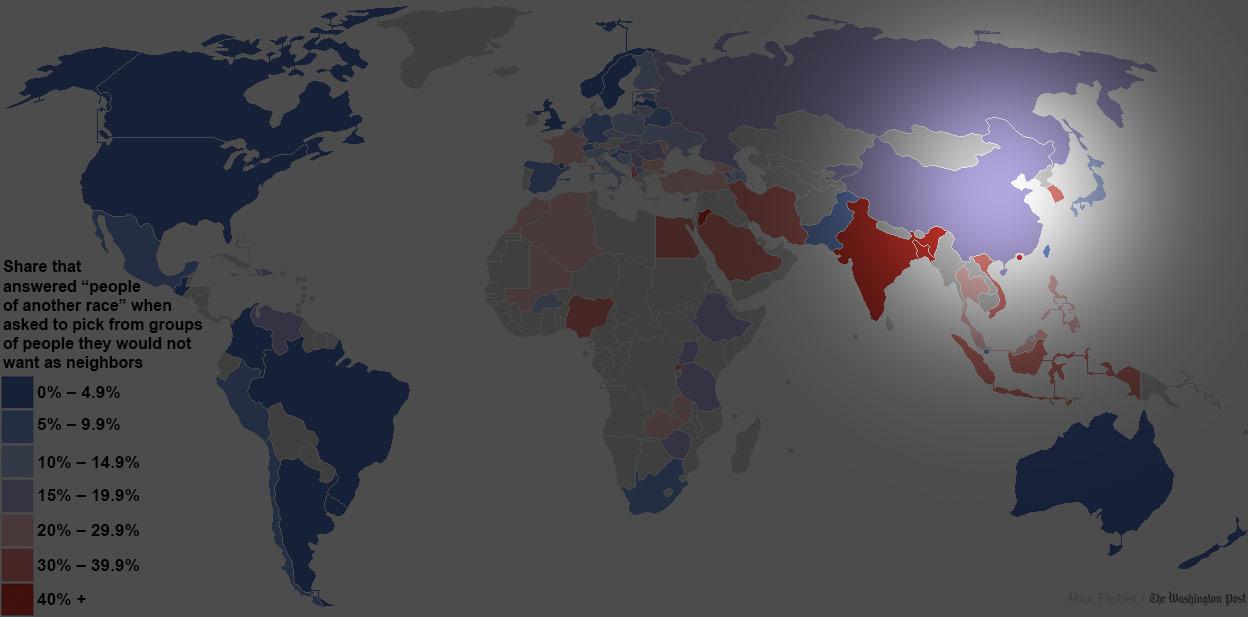 世界各國對其他民族容忍度地圖6