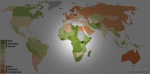 世界各國種族多元程度地圖2