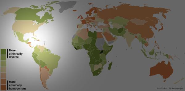 世界各國種族多元程度地圖5