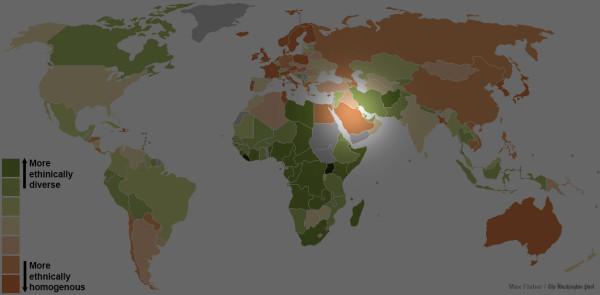 世界各國種族多元程度地圖6