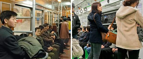 兩個世界,南韓北韓的對照圖
