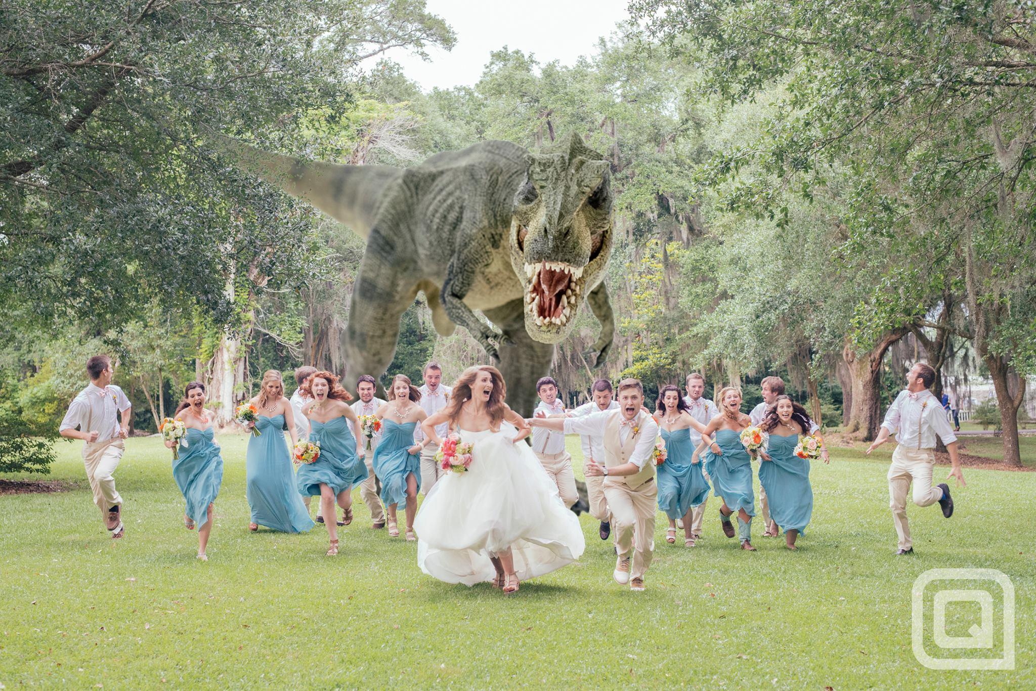 最浪漫的婚禮照:後面有隻暴龍在追1