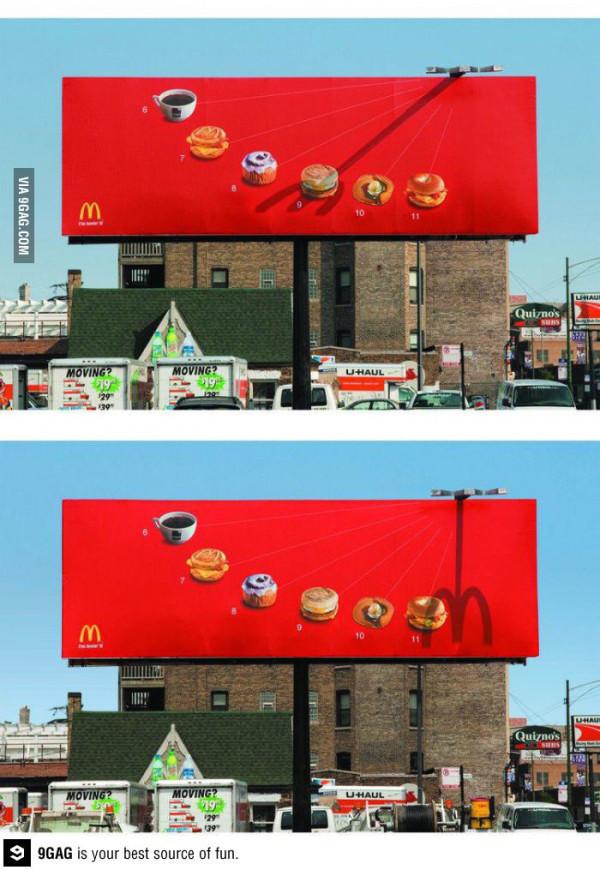 麥當勞利用影子把平面廣告變成動畫2