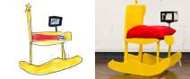 藝術家把小孩畫的椅子蓋出來