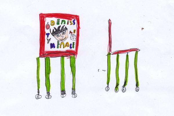 藝術家把小孩畫的椅子蓋出來1