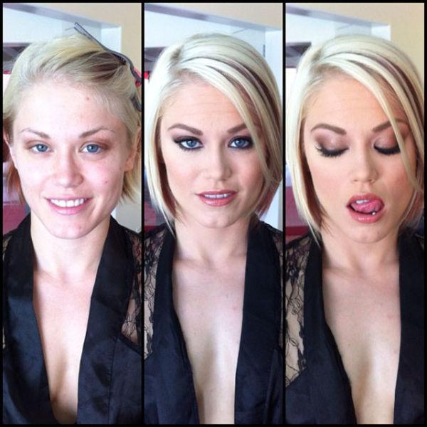 [西洋無碼] A片女優化妝前/後的樣子25
