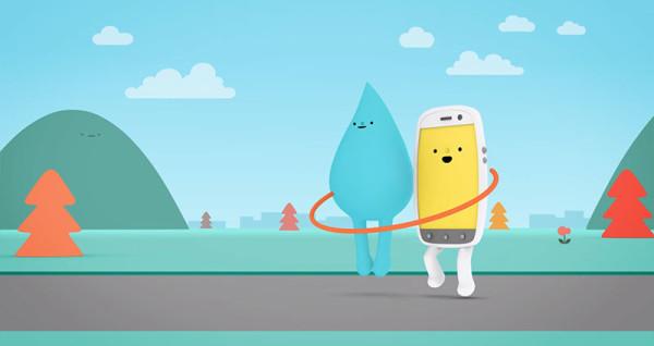 可愛防水手機廣告:水是我的好朋友