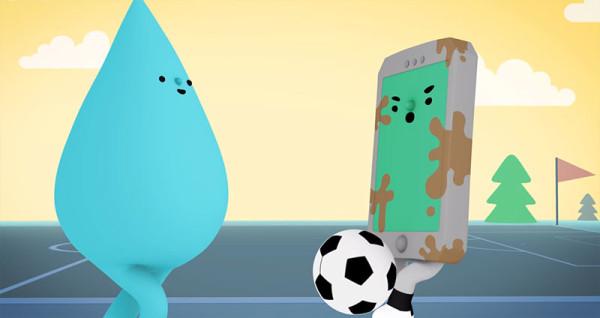 可愛防水手機廣告:水是我的好朋友4
