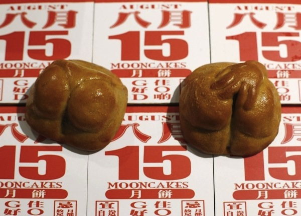 Buttock-shaped moon cakes sold ahead of the Mid-Autumn festival in Singapore