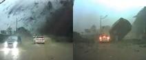 基隆土石流,汽車差一秒被超大巨石碾過