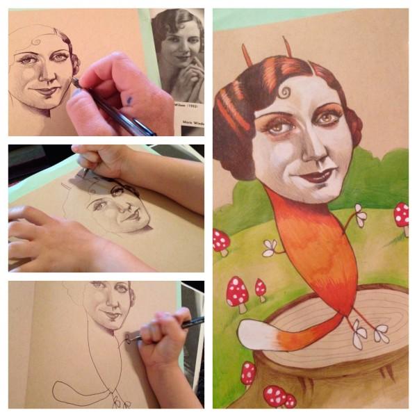 媽媽和小孩一起畫的藝術塗鴉6
