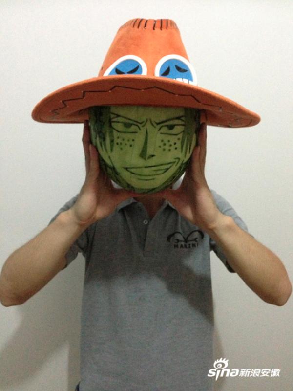 海賊王迷用西瓜雕刻魯夫、娜美等角色5