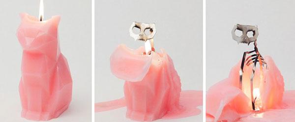 可愛寵物造型的蠟燭熔化變成驚悚骨骸!