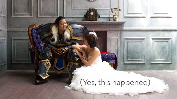 兩人並肩砍怪!魔獸世界婚紗照1