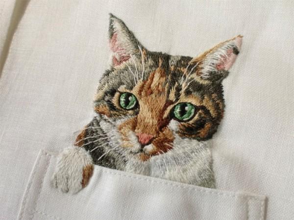 母愛限定!日本媽媽應兒子要求織了口袋裝貓咪的襯衫1