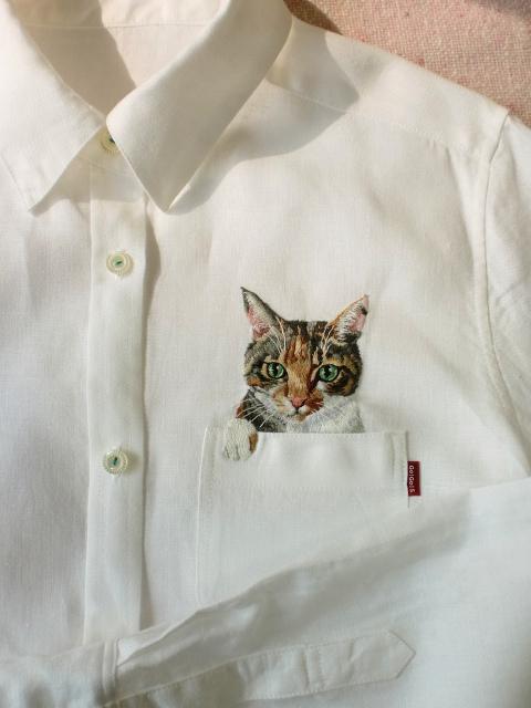 母愛限定!日本媽媽應兒子要求織了口袋裝貓咪的襯衫11