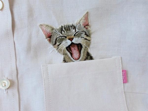 母愛限定!日本媽媽應兒子要求織了口袋裝貓咪的襯衫2