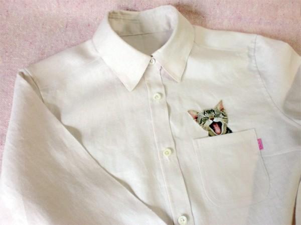 母愛限定!日本媽媽應兒子要求織了口袋裝貓咪的襯衫3