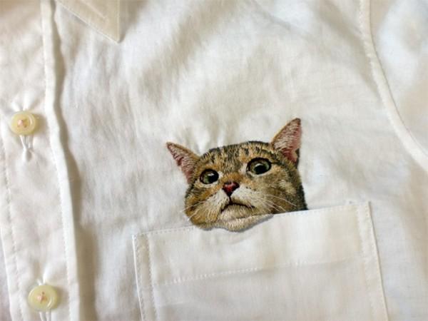 母愛限定!日本媽媽應兒子要求織了口袋裝貓咪的襯衫4