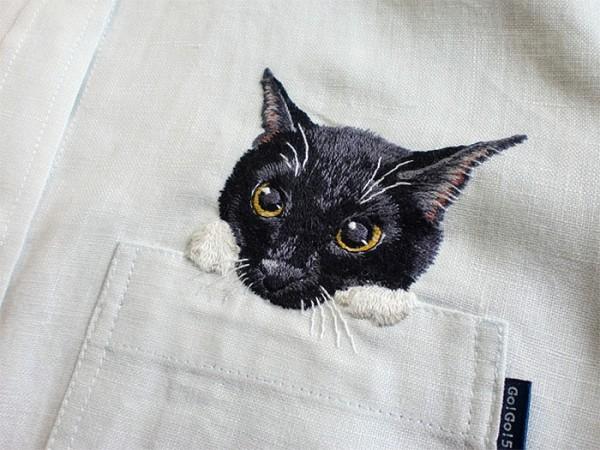 母愛限定!日本媽媽應兒子要求織了口袋裝貓咪的襯衫5