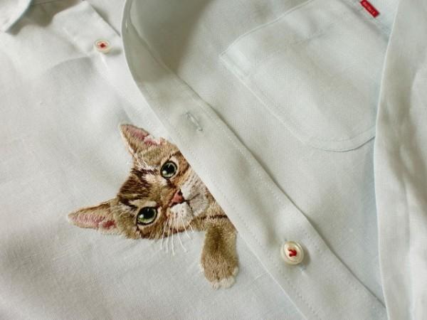 母愛限定!日本媽媽應兒子要求織了口袋裝貓咪的襯衫9