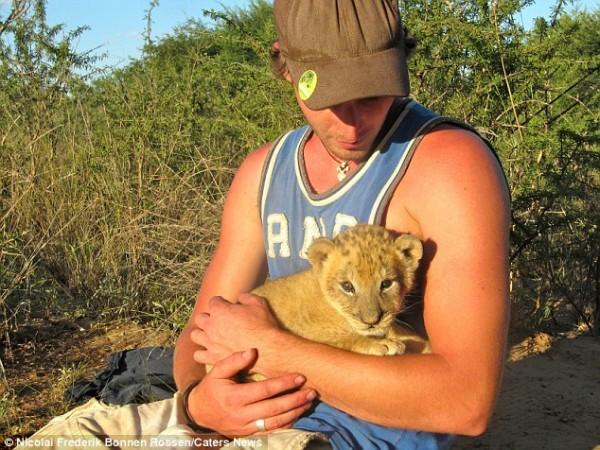 獅子跟人擁抱,擁抱動機是最美的部分...1