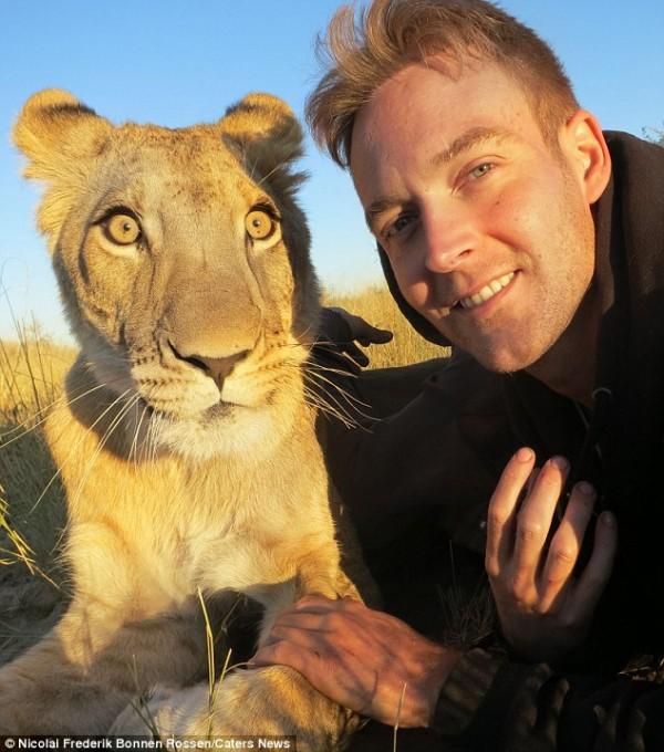獅子跟人擁抱,擁抱動機是最美的部分...8