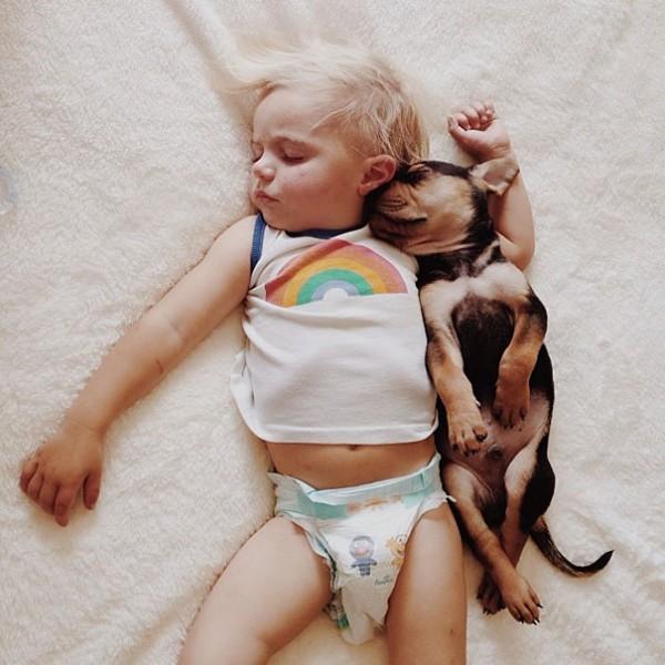 萌度超標!小孩和小狗每天一起睡午覺1