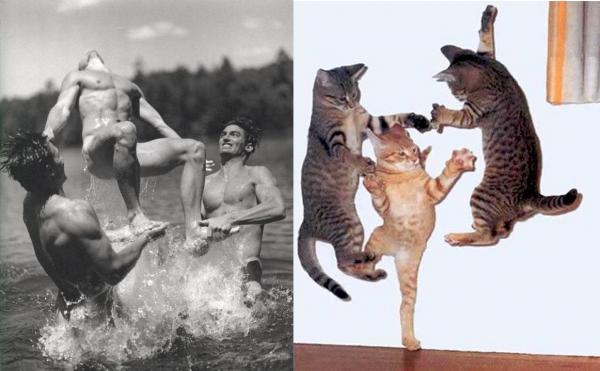 還是一樣性感!男人與貓做一樣的動作5