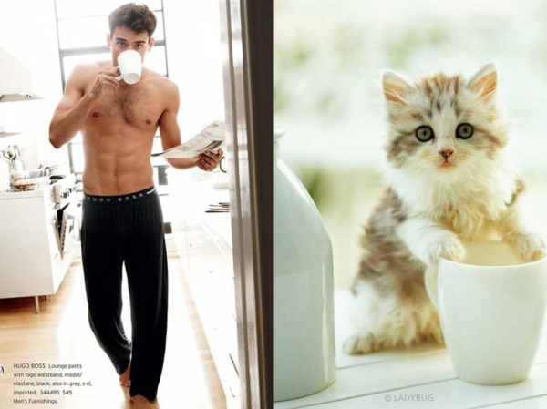 還是一樣性感!男人與貓做一樣的動作8
