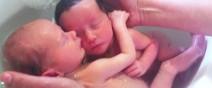 雙胞胎出生後第一次洗澡,依然緊緊相依