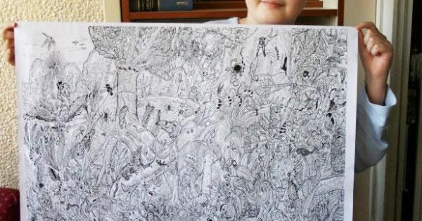 11歲男孩畫下細節多到驚人的完美素描