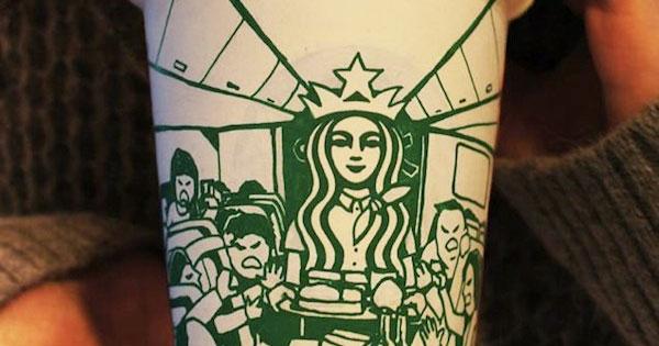這個人去星巴克喝咖啡,是為了完成這些超展開的塗鴉