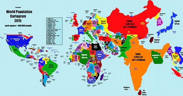 """""""人口決定國土""""的世界地圖:台灣壯大、加拿大消失!"""
