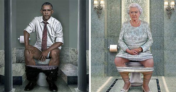 總統也是人:藝術家展示世界領袖們上廁所的模樣